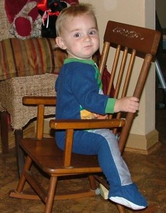 Sporting the Handy Manny Jammies in my rocking chair.